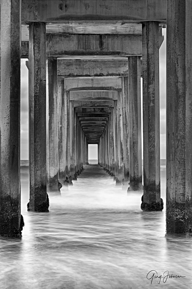 Under Scripps Pier In Black and White