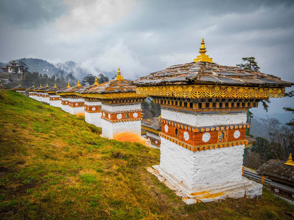 Bhutan Mountaintop Chortens | Travel Photography Print