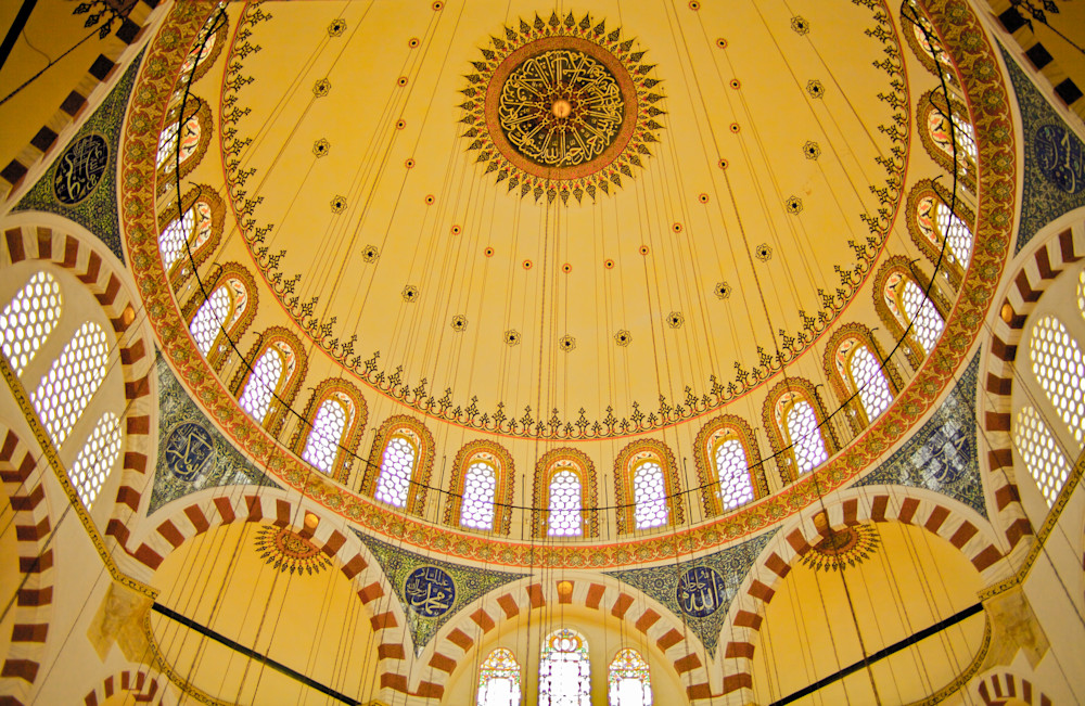Istanbul Mosque Golden Ceiling | Travel Art Photography Print
