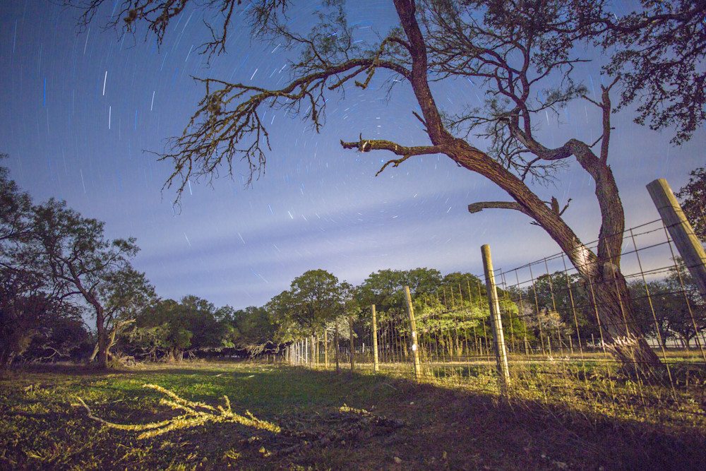 Fence Line Under A Starry Sky | Full Moon Photography Print