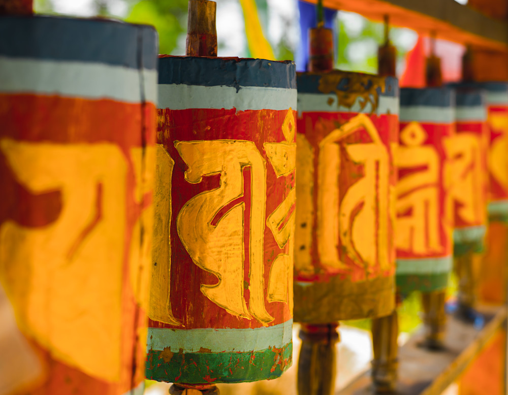 Bhutan Buddhist Prayer Wheels | Travel Art Photography Print