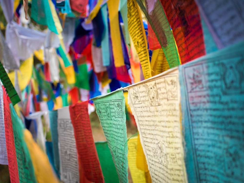 Colorful Bhutanese Prayer Flags | Travel Art Photography Print