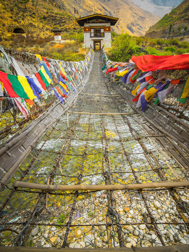 Prayer Flags On Bhutanese Bridge | Travel Art Photography Print