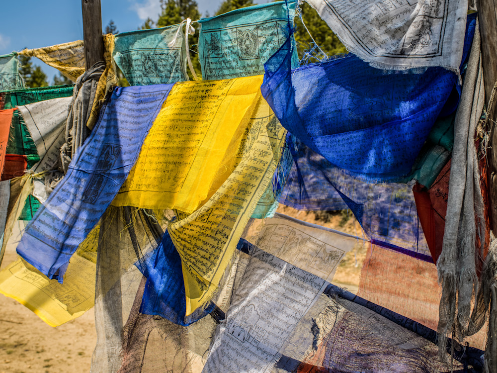 Multi Colored Bhutanese Prayer Flags | Travel Art Photography Print