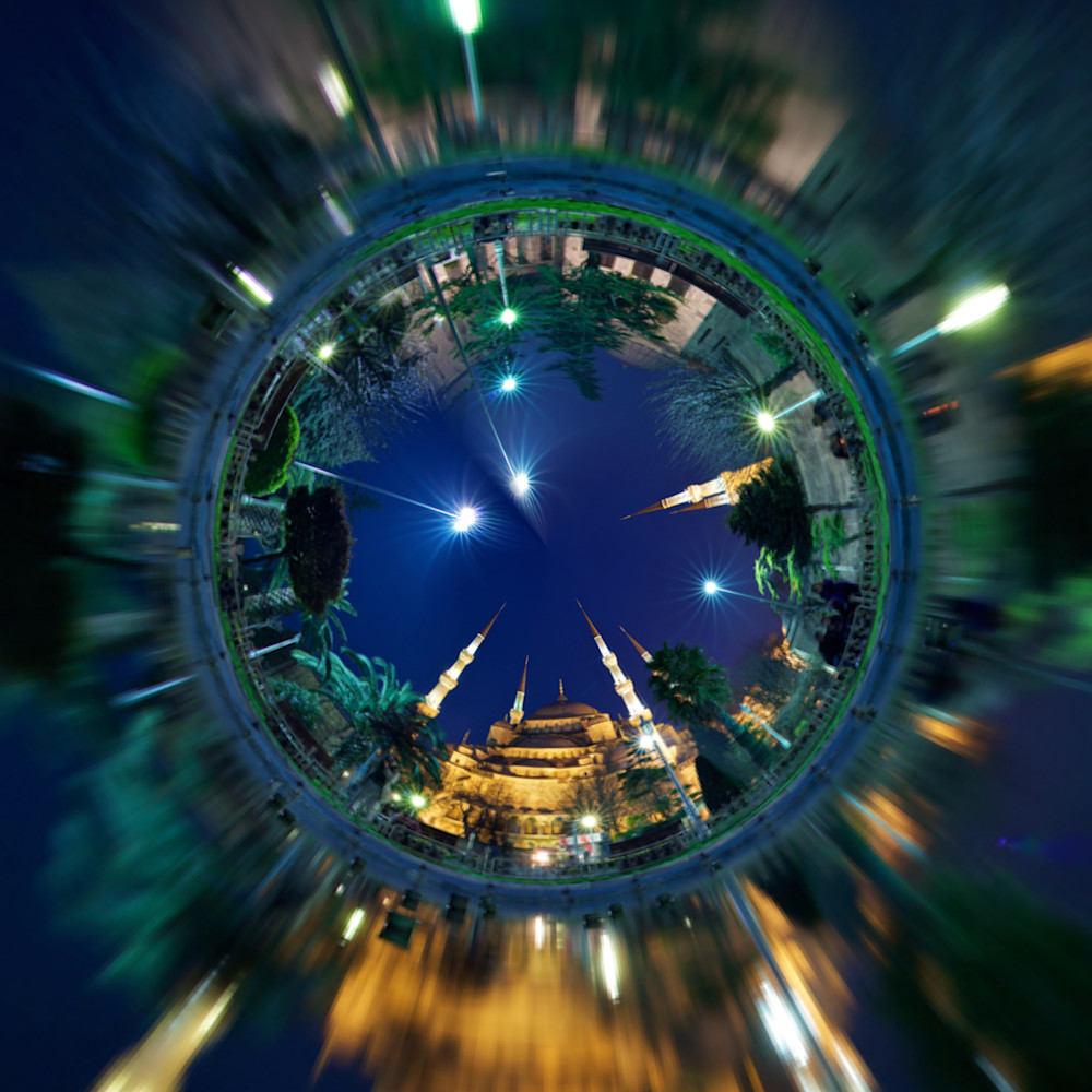 Blue Mosque   Tiny Planet Art Photography