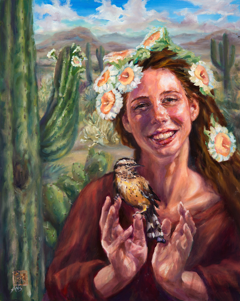 Cactus Queen 1: Oil painting by Ans Taylor, fine art prints, giclee available.