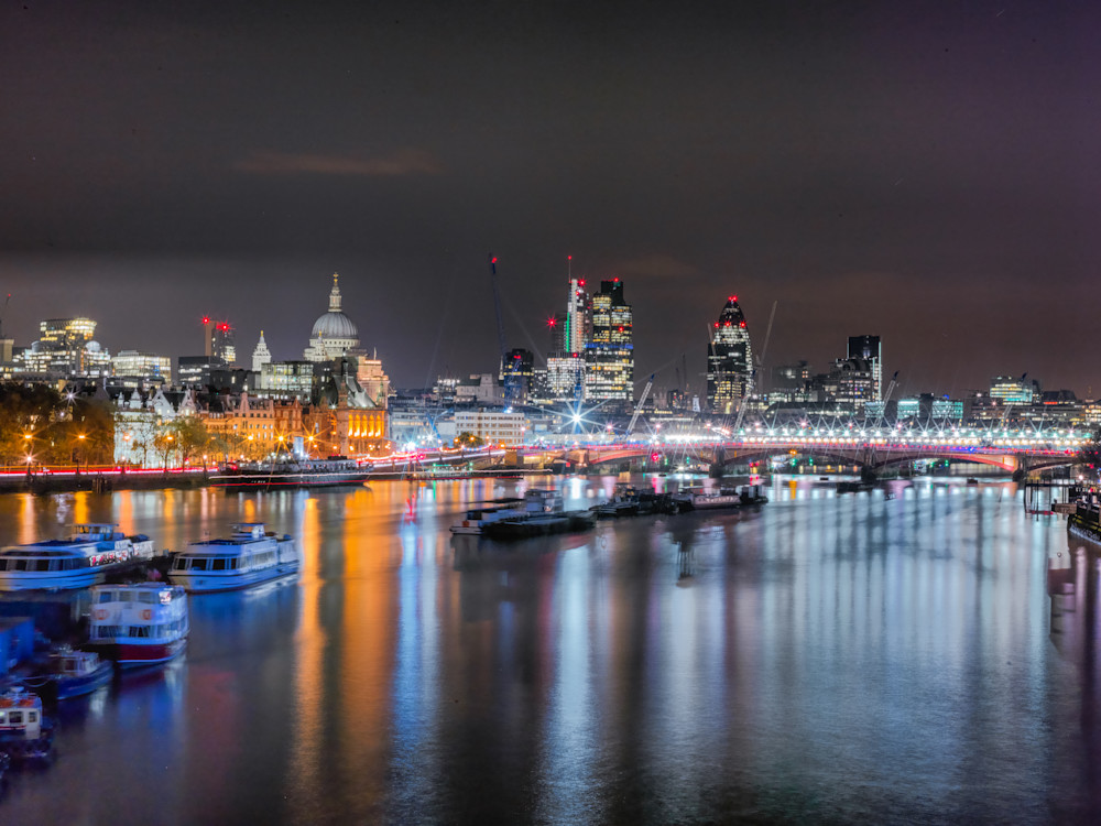 Busy Night On The Thames | London Art Photography Print