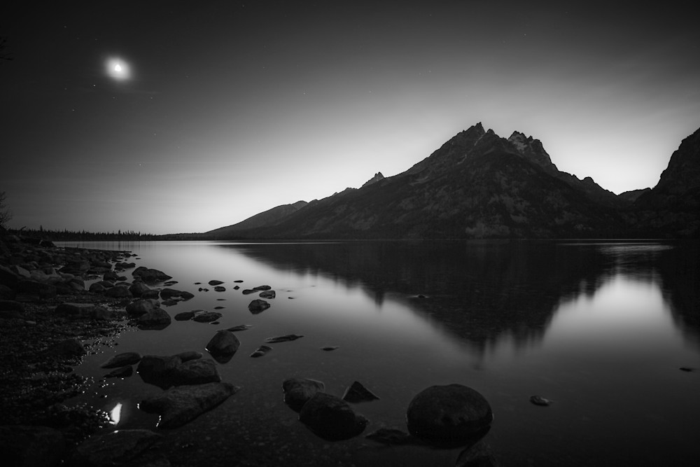 Grand Tetons Moonlight Reflection | Black and White Landscape Photography