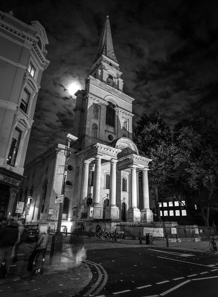 Full Moon Over Spitalfields | Black and White London Photography