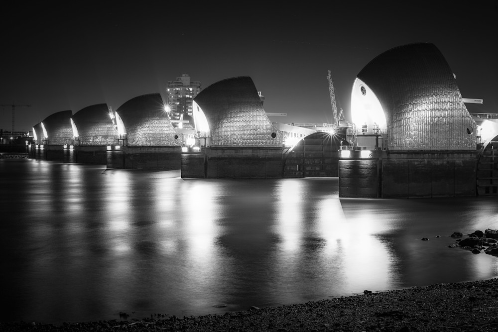 Thames Barrier | Black and White London Photography