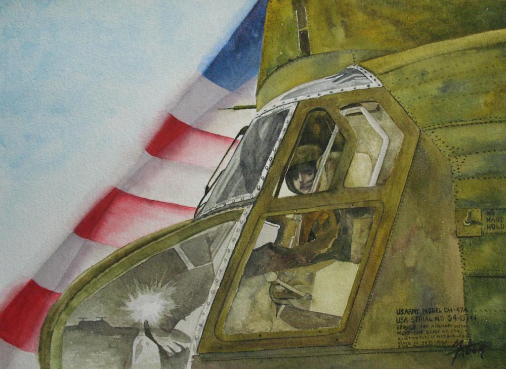 Chinook Pilot In Vietnam Art   Michele Tabor Kimbrough