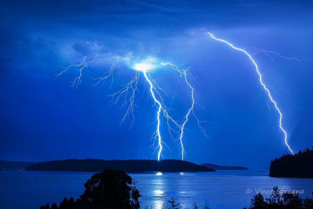 Fine art prints of a lightning strike over Skagit Bay, WA