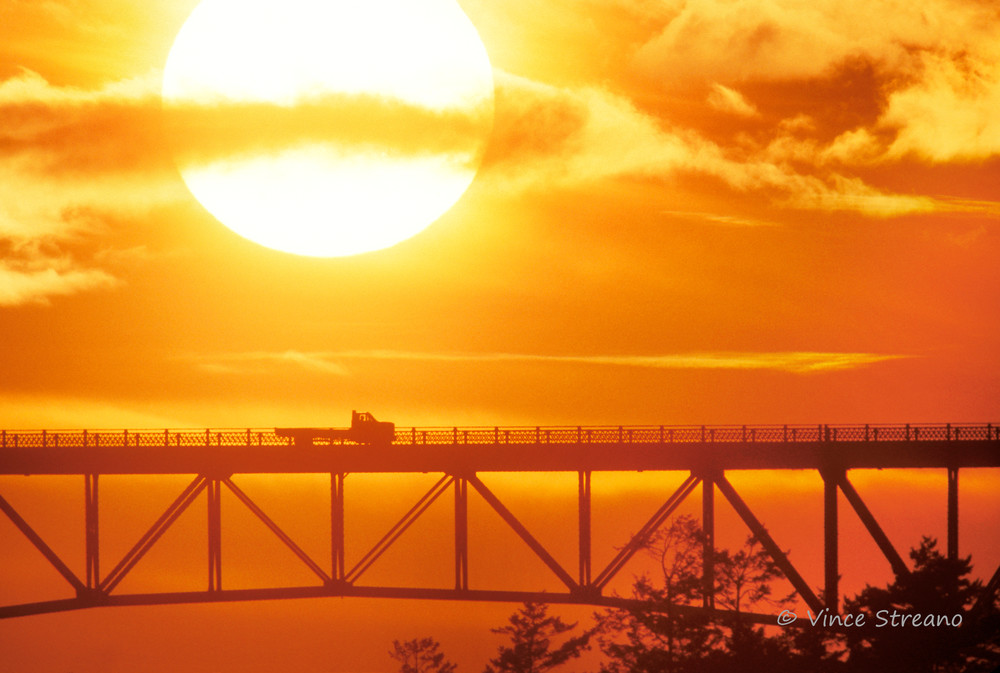 Fine art prints of Deception Pass Bridge at sunset.