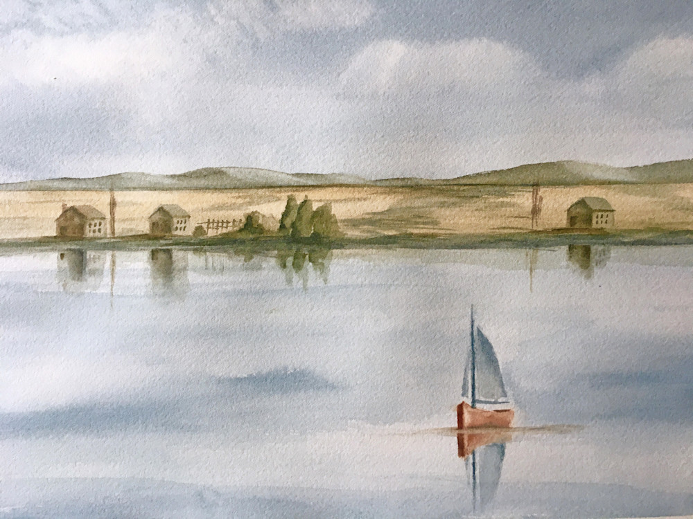 Watercolor sailboat painting by Holly Whiting