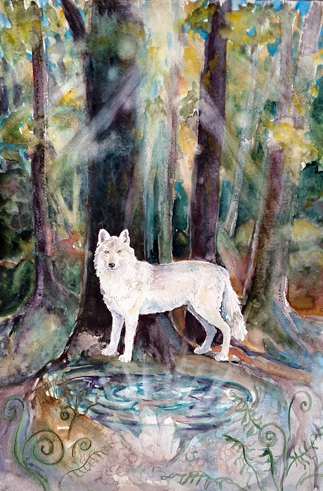 Guardian of Three Worlds Spirit Wolf Art Print