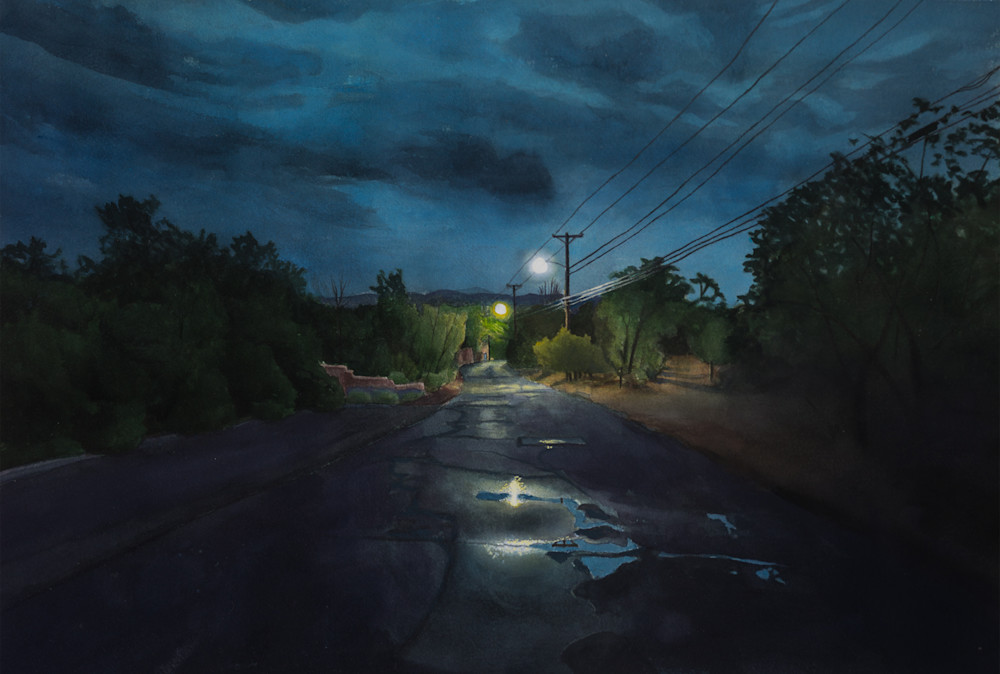 landscape, nightscape, painting, gouache, canyon road, new mexico, santa fe, nocturne, upper canyon road