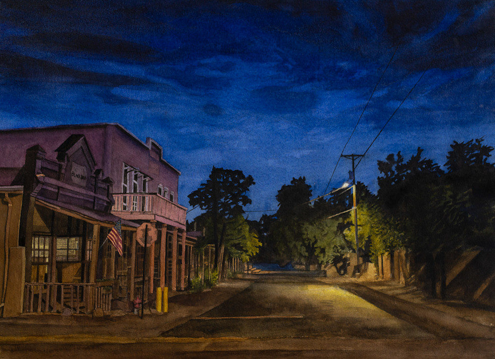 landscape, nightscape, painting, nocturne, cerrillos, new mexico, watercolor
