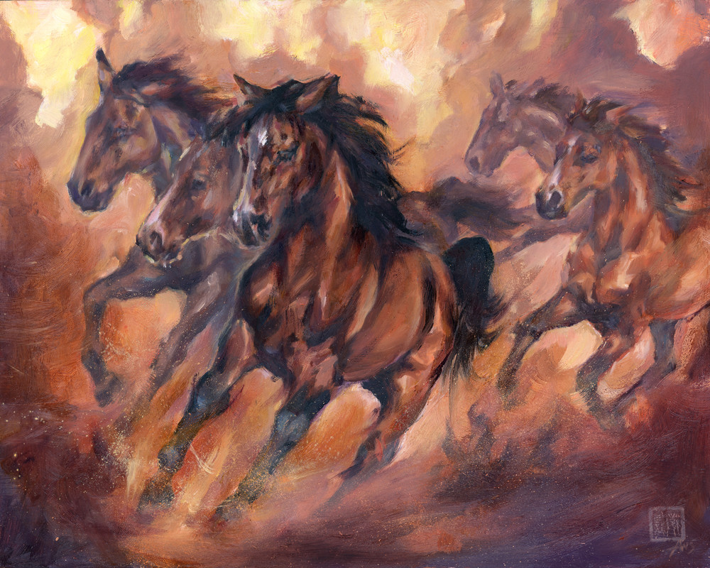 Stampede - oil painting of the Salt River Wild horses, Arizona Mustangs by Ans Taylor