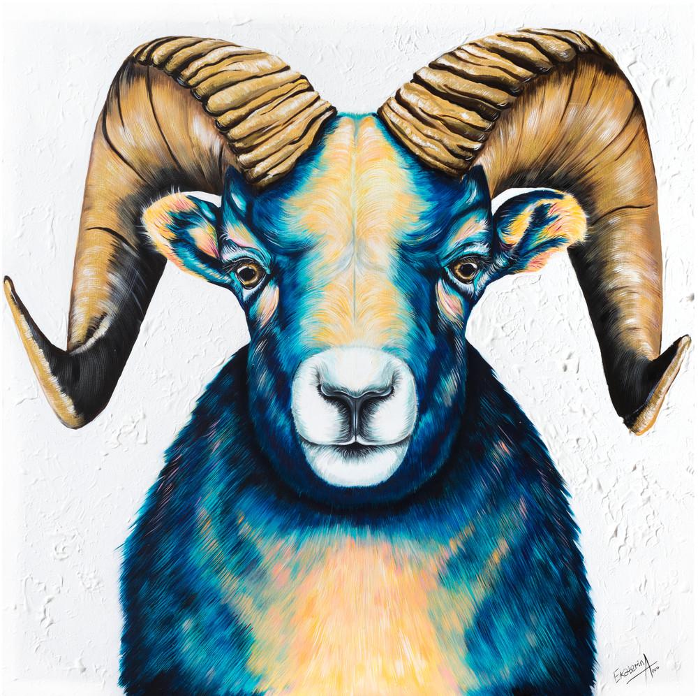 Blue Mouflon Goat Print