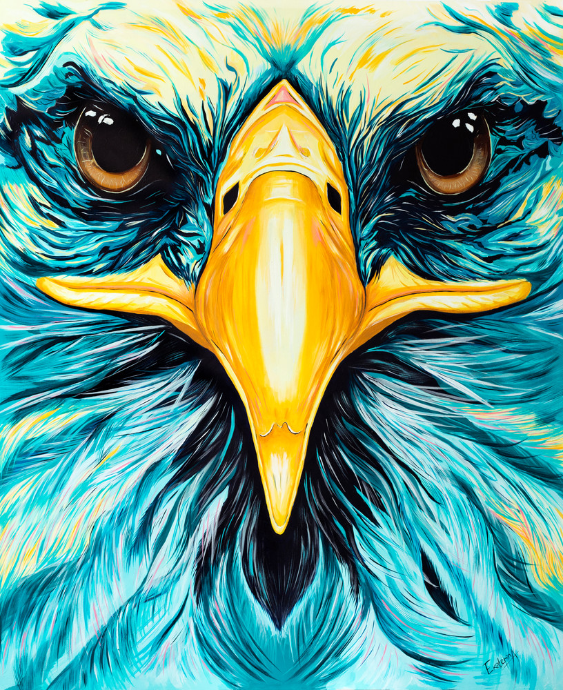 Colorful print of an eagle