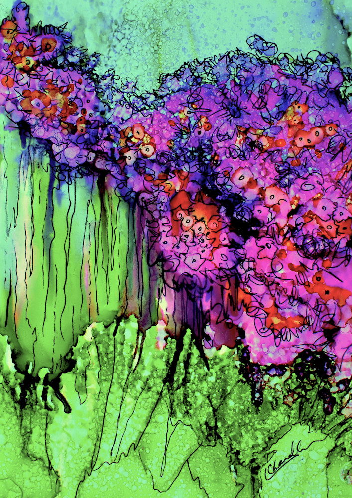 Garden, purple, green, fantastical, prints for sale