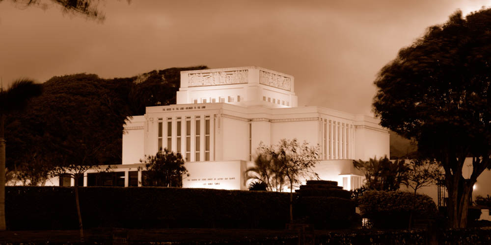 Laie Temple - Panoramic Sepia
