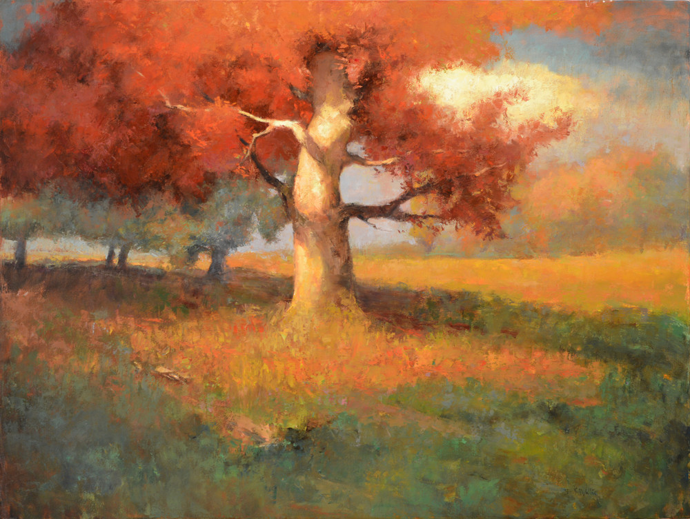 Print of a painting by Eric Wallis titled Autumn Sentinel.