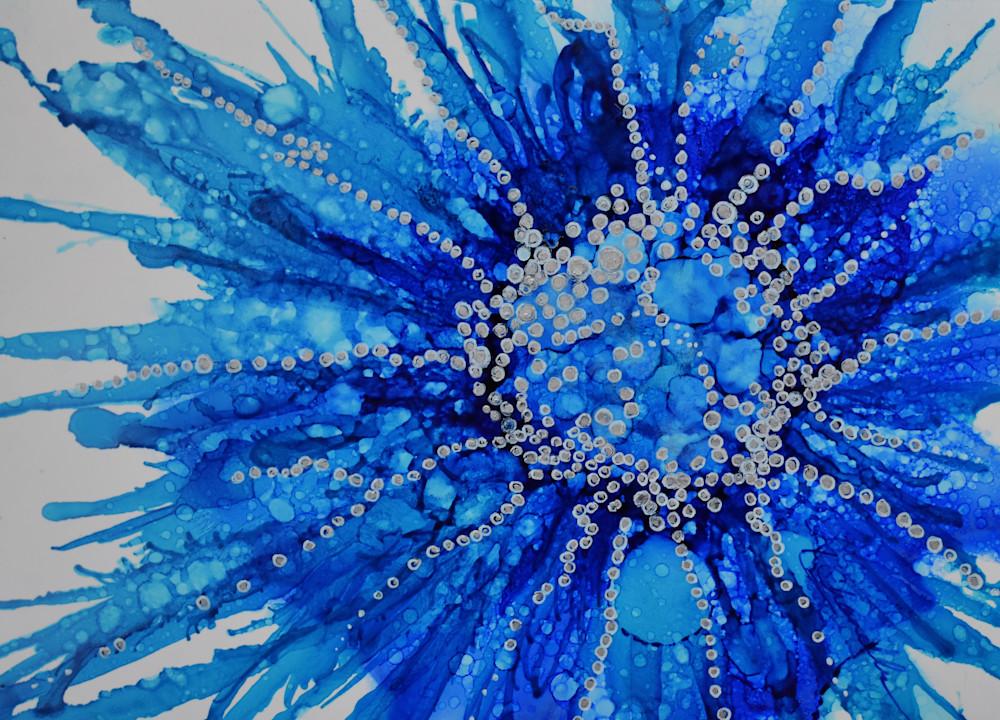 Flower, splash, blue, button, abstract