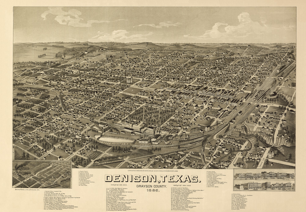 Denison Map   1886 Photography Art | Randy Sedlacek Photography, LLC