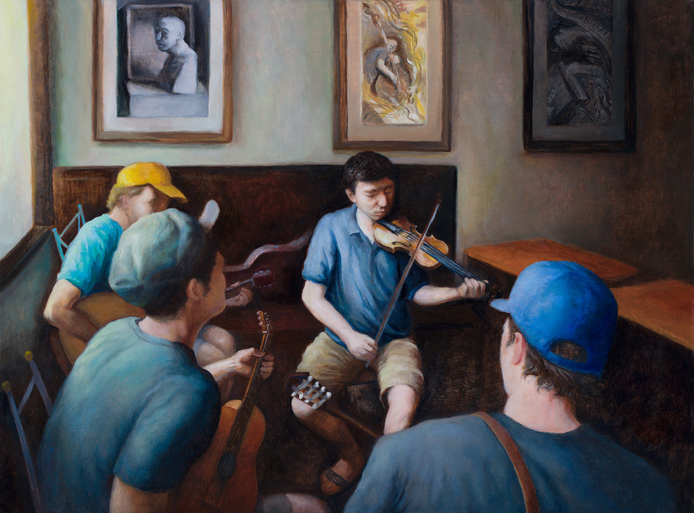 Musicians at an Art Exhibit