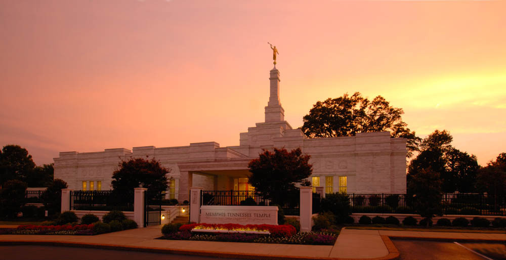 Memphis Temple - Panoramic Pink Sky
