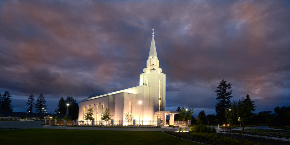 Vancouver Temple - Panoramic Purple Clouds