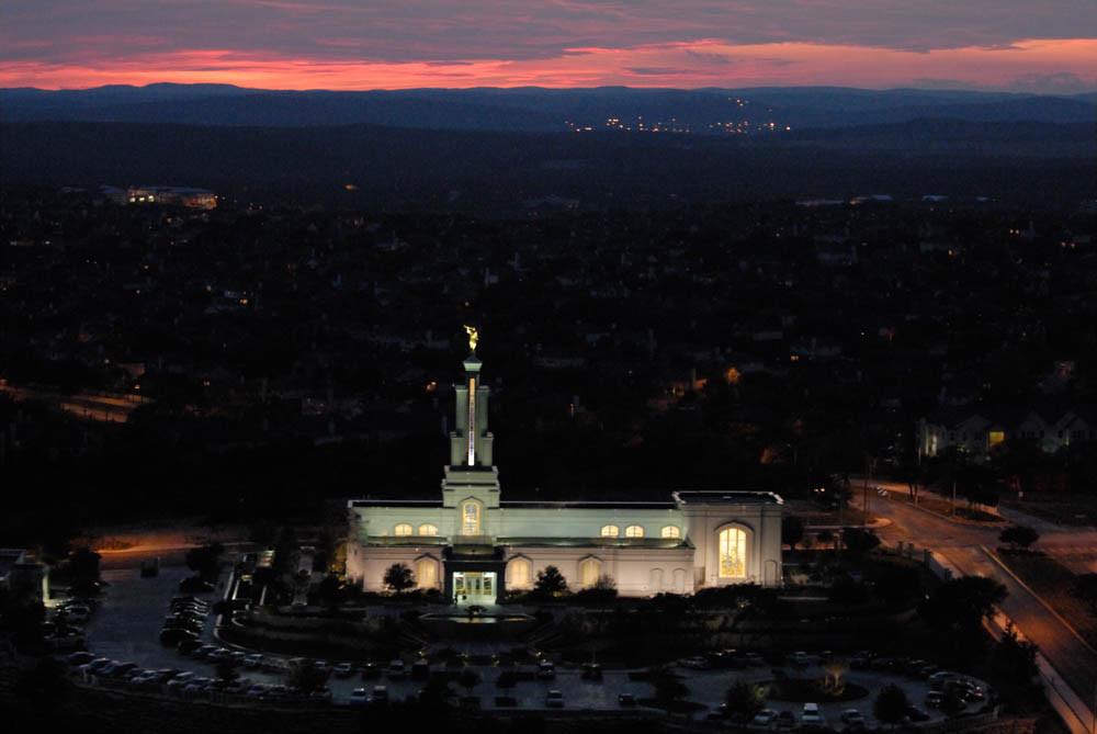 San Antonio Temple - Aerial Dusk