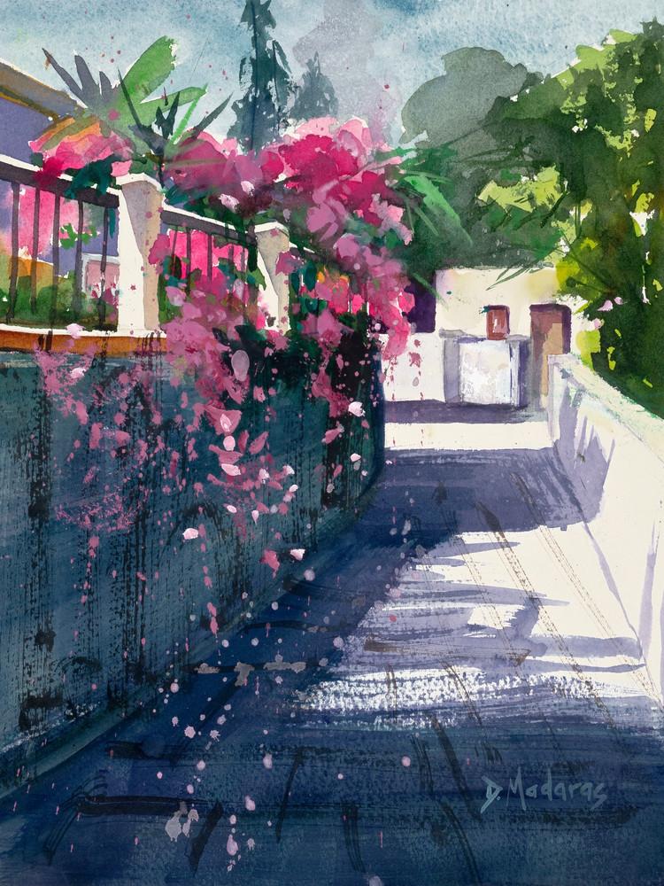 Street of Bougainvillea Watercolor