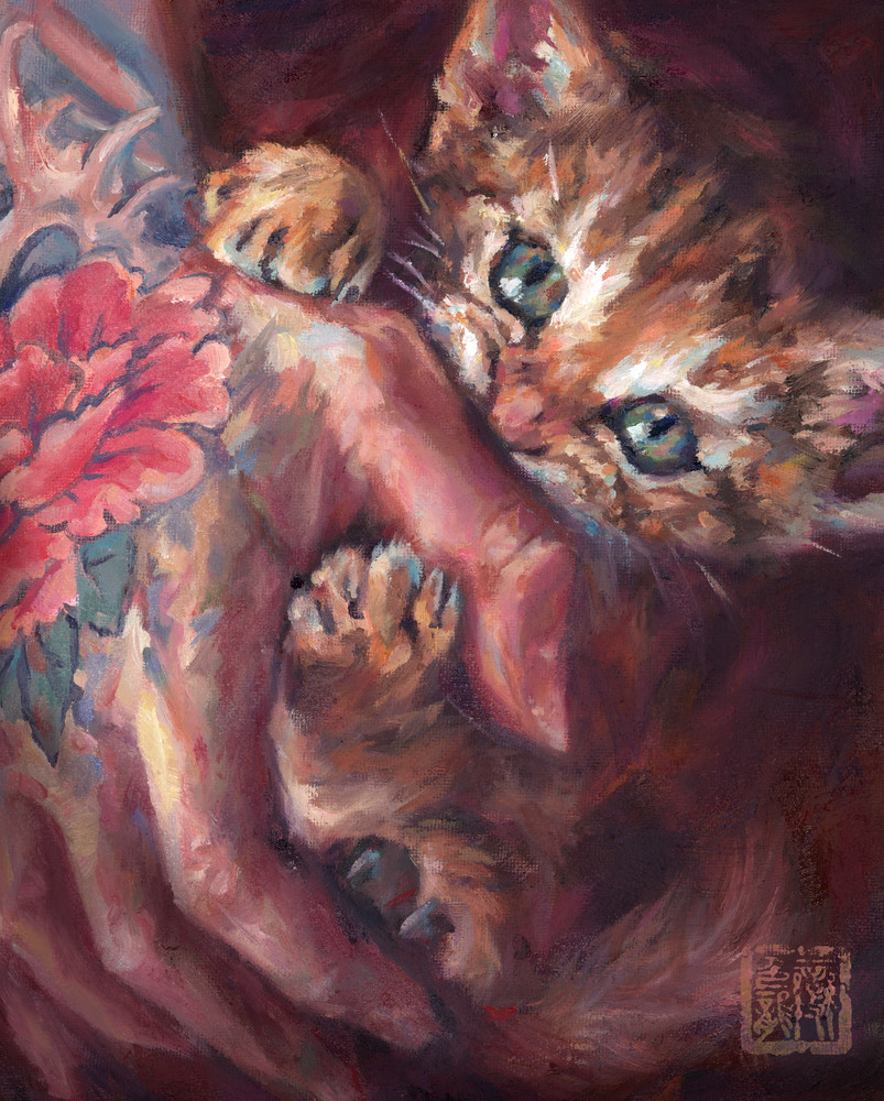Ferocious Feline - oil painting by Ans Taylor. Prints for cat lovers.