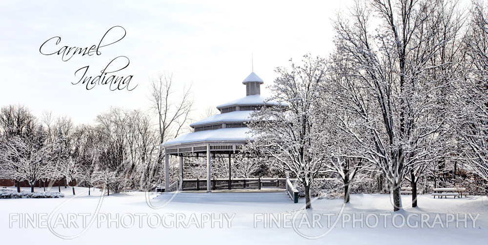Snow Covered City Hall Gazebo: Shop Fine Art Photography | Jim Wyant, Master Craftsman (317)663-4798