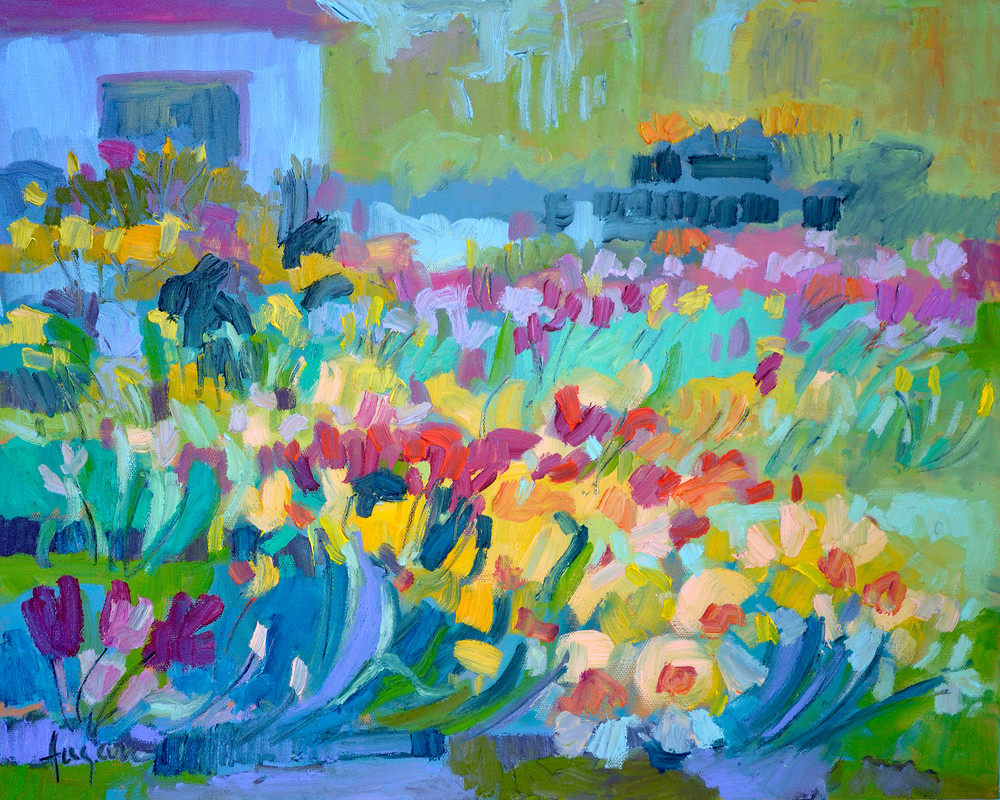 Daffodil Farm Painting Art Print on Canvas, Bloomers by Dorothy Fagan
