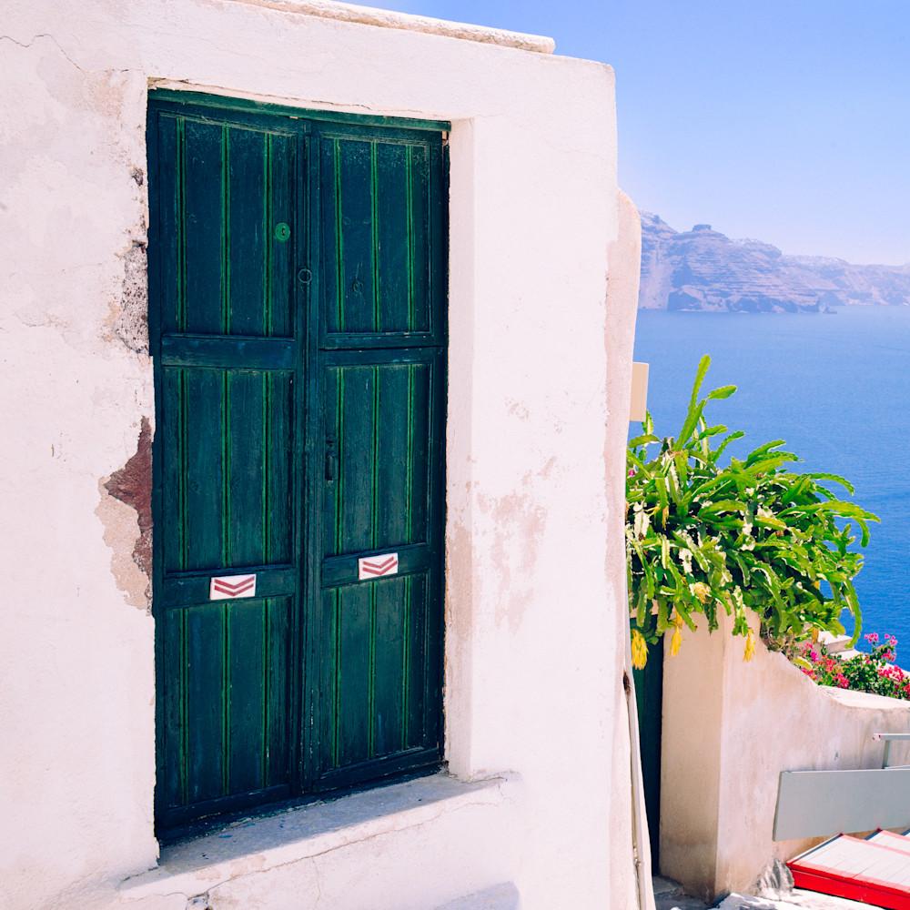 Santorini Sky Door | Kirby Trapolino Fine Art Photography