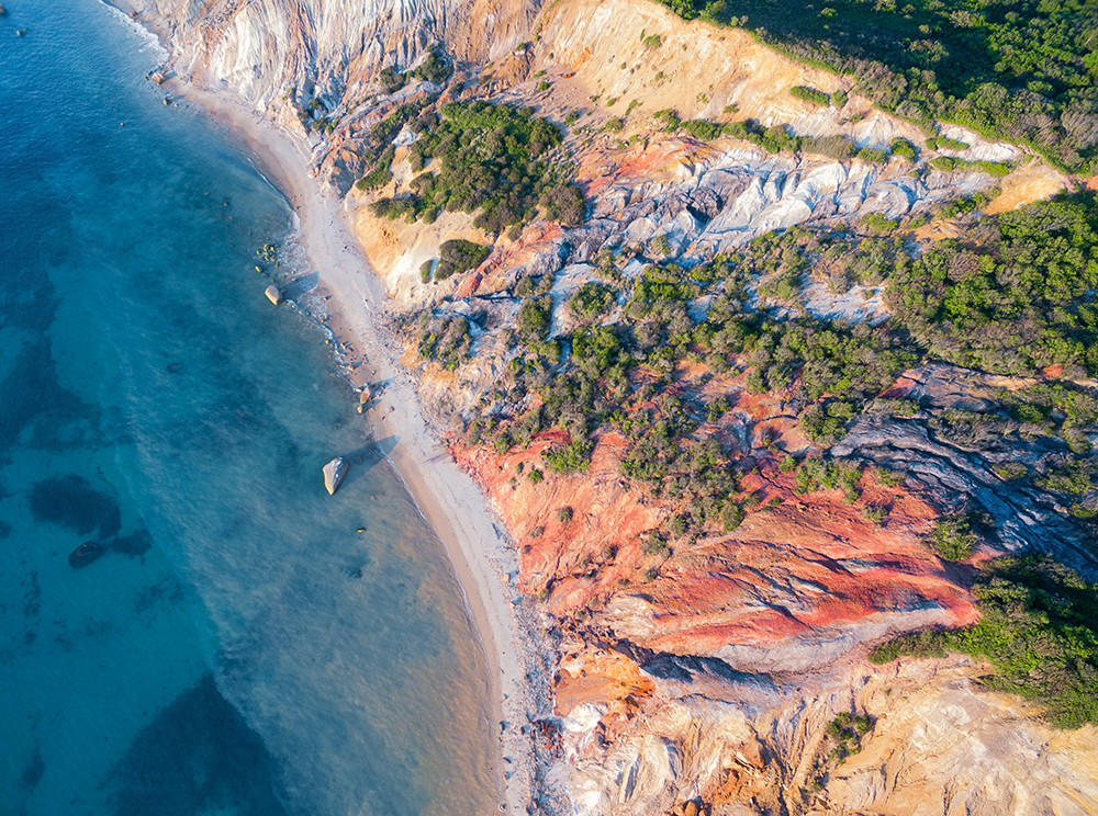 """Over Gay Head Bluffs"" Aquinnah Martha's Vineyard Aerial Fine Art Photograph"