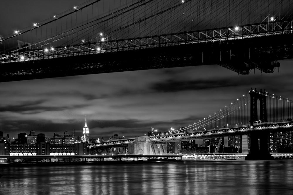 Two Bridges - Brooklyn Manhattan Bridge Brooklyn New York City NY USA Black & White | Cityscape