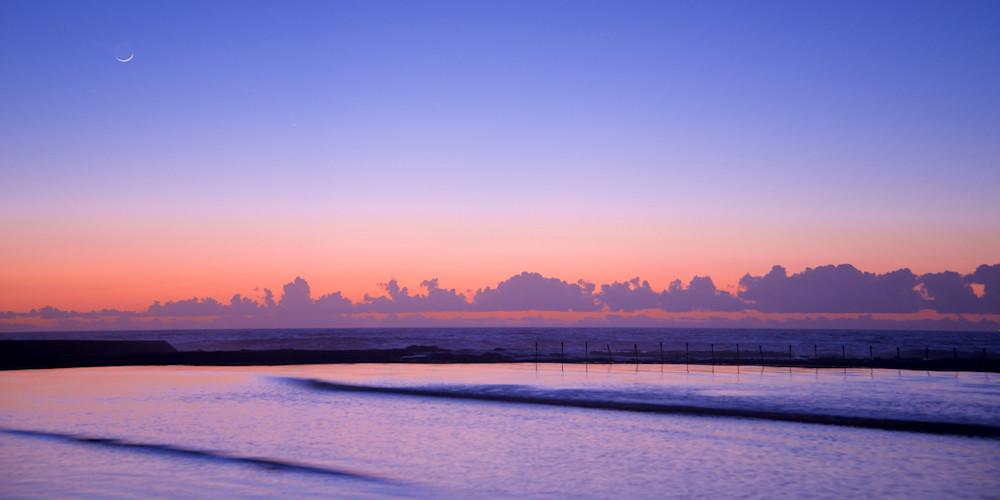 Pastel Moon - Canoe Pool Newcastle Ocean Baths NSW Australia   Dawn Sunrise