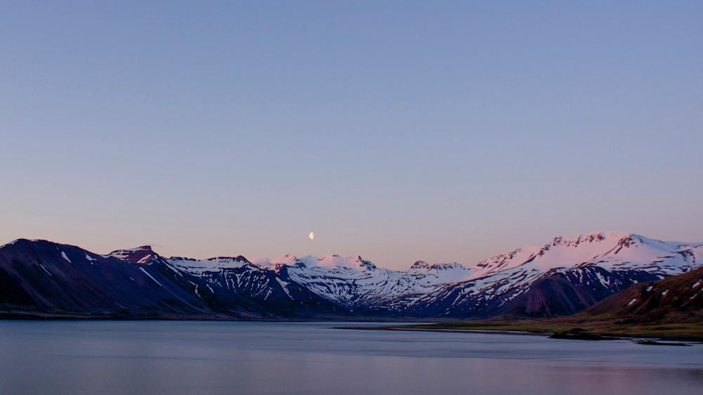 Moon Rise Mountains - Kolgrafarfjördur Near Grundarfjordur Iceland   Moonrise