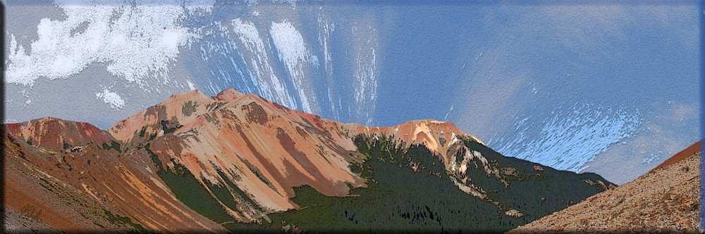 Red Mountain 2 and 3 print of at Corkscrew pass transformed into digital art by Maureen Wilks