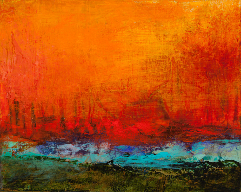 Red Abstract Landscape Painting