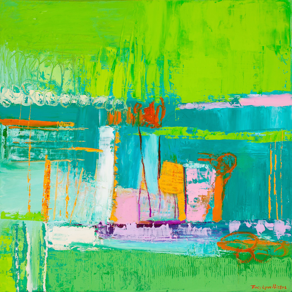 Bright Green Abstract Print