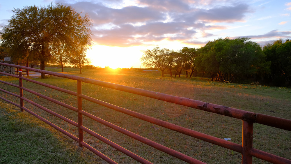 Sunset over Northern Texas Ranch