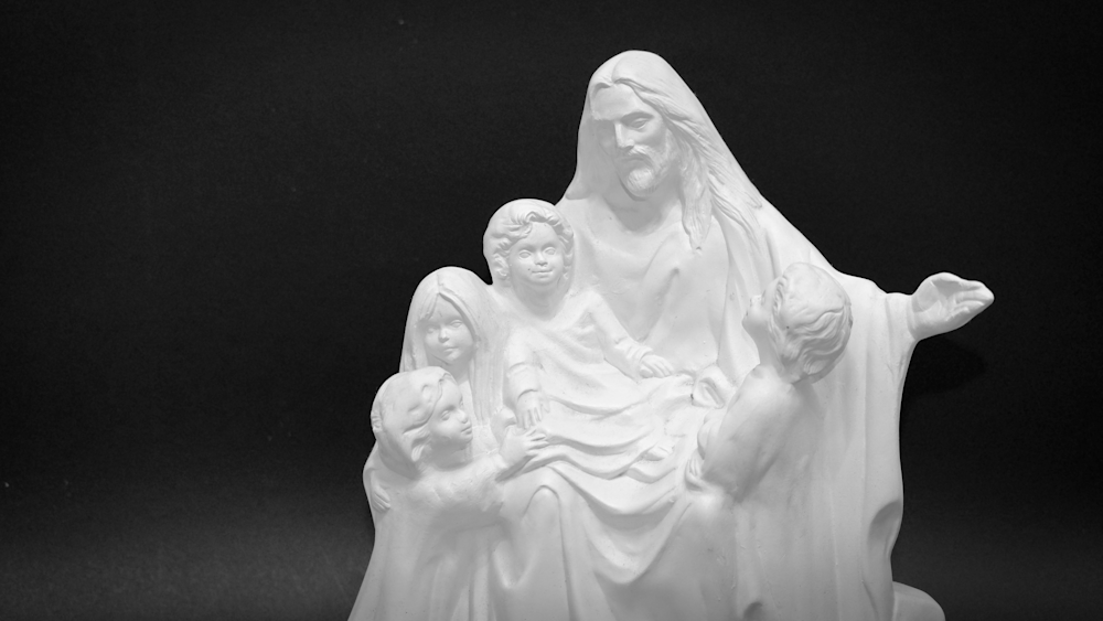 Black And White Jesus With Little Children Photography Art | Drone Video TX