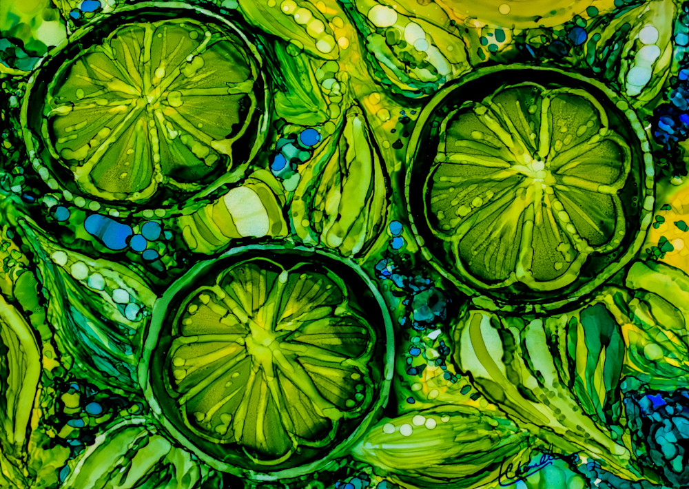 Fresh, limes, green, abstract, fruit, prints, digital