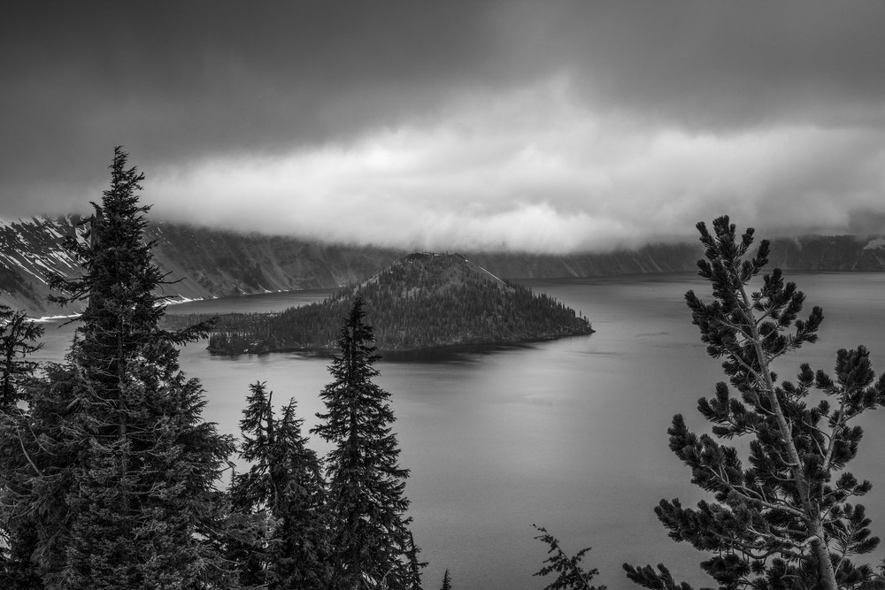 Hanging Clouds At Crater Lk Photography Art | Dale Yakaites Photography