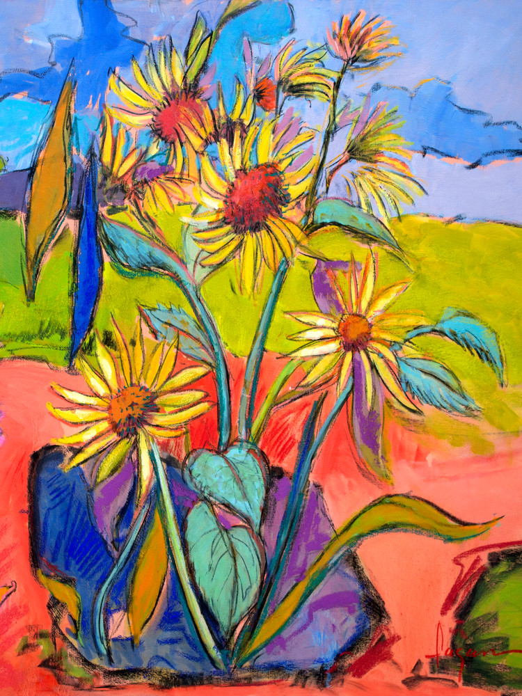 Giverny Sunflowers Art Print Painting on Canvas by Dorothy Fagan